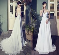 Wholesale Vestido de Novia A Line Wedding Dress Sweetheart A Line Court Train Appliques Chiffon Fashionable Bridal Dress Gown Custom Made