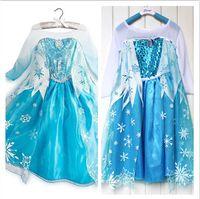 Cheap 100-140CM 2014 New Light Blue princess Elsa frozen costume for Girls, fantasia frozen halloween costumes dress for kids fairy tail