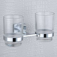 Wholesale Double Tumbler Holders Elegant Stainless Steel and Copper Bathroom Toothbrush Holder with Glass Cup for Sale