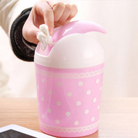 Wholesale pieces Office Desktop Storage Bucket Lace Polka Dot Pattern Automatic homing lid Office Paper Basket Trash Can with Lid