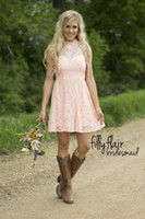 western wear - 2016 New Pink Country Bridesmaid Dresses Short Modest High Neck Cheap Western Wedding Guest Wear Plus Size Lace Open Back Cocktail Gown