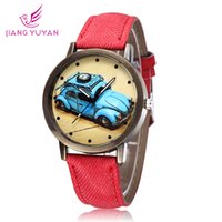 brand name watches - 2015 vine simple leather strap Watch for student fashion blue Classic Car design girls boys cartoon Quartz Watches brand name black