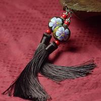 wooden earrings - Ethnic Thailand handmade wooden bead earrings jewelry agate earrings exaggerated women long tassel earrings