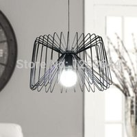 Lampe suspension contemporaine en fer blanc / blacj Lampe suspension en cage Lampe LED pour restaurant