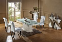 Wholesale Natural Travertine Dining Table Set Luxury High Quality Natural Store Marble Dining Furniture Table Set NB