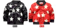 Wholesale Fashion korean Big boys letter printed jacket leather fastener black pure color children long sleeve coats kids outwear Ya0340