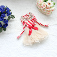 Wholesale Girls Dress for Christmas Kids Clothing Autumn Lace Tutu Dress Fashion Long Sleeve Bow Sequins Stripe Princess Party Dress MC