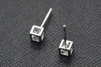 Wholesale Sending Earring Boxes - Love Rubik's cube S925 sterling silver earrings earrings send Tremella three-dimensional box hollow block