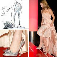 diamond wedding shoes - New Cinderella s glass slipper shoes diamond point single shoes wedding shoes