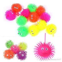 Wholesale LED Light Emitting Hedgehog Plush Ball Elastic Ball Hlashing Hairy Ball Vent Toys Children Toys TY1311