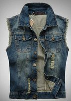 Wholesale Men s slim trend motorcycle jean vest Sleeveless Jackets Male Slim Fit Blue denim Vests Plus Size S XL