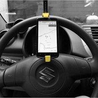 Wholesale Creative Car phone Holder Steering Wheel Mobile Vehicle Car GPS Navigation Holder
