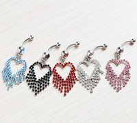 Wholesale simulated diamond heart style tassels belly button ring body jewelry JF14 piercing jewelry navel piercing