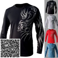 european fashion for men - European and American Style Dragon tattoo long sleeve Brand poloshirt T shirt for men Mens O neck Fashion T shirt