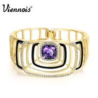 10k gold bracelet - 2015 Viennois Fashion Jewelry Square K Gold Austrian Rhinestone Purple Crystal for Women Luxury Brand Bracelet and Bangles