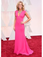 oscar - 2015 Oscar Celebrity DressesLara Spencer Pink Cap Sleeves Red Carpet Sheath Evening Dresses V neck Sweep Train Dress
