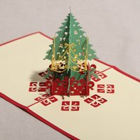 Wholesale Creative Kirigami Origami D Pop UP Greeting Gift Christmas Cards with Christmas Tree Gifts set of