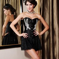 Wholesale Black Floral Embroidery Corset shipping free LC5249