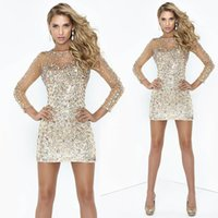 Reference Images long sleeve cocktail dresses - 2014 New Sexy Cocktail Dresses Jewel Column Illusion Long Sleeve Short Mini Satin Crystal Sequins Prom Party Pageant Gowns C013