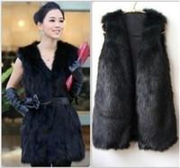 Wholesale New Chic Women Faux Fur Coats Winter Sleeveless Vest For Women Plus Size Fashion Outwears Women Clothing Black Grey White Camel