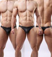 men underwear thong - Fashion Gay underwear Jockstrap Faux Leather Male thong G strings bikini Swimwear Sexy Men Underwear penis Sexy Beachwear Underpants