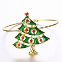 South American bangle clothing - Classic Gold Plated Cuff Bracelet Bangle Christmas Tree Crystal Jewelry Women s Bracelets Christmas Gift Clothing Decoratron Accessory