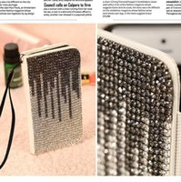 rhinestone cell phone cases - Luxury Bling Fashion Rhinestone Diamond Leather Flip Case for iphone s G s G c Cell Mobile Phone Card Holder Vove
