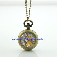 art nouveau locket - Art Nouveau Zodiac Pocket Watch Photo Locket Necklace Vine Pocket Watch Necklace WT