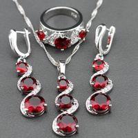 Wholesale Red Garnet White Zircon Jewelry Sets Silver Long Drop Earrings Pendant Necklace Ring For Women Free Jewelry Box