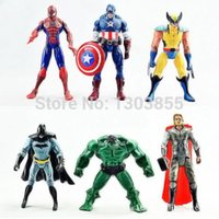 Wholesale 6PCS The Avengers Hulk Wolverine Batman Spiderman Action Figures Boy Xmas Gift A