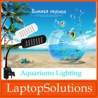 Wholesale Home Aquariums Lighting Fish Tank Lamp Flexible Blue White Lights V Aquariums LCD Clip Lamp Light YG Model DHL