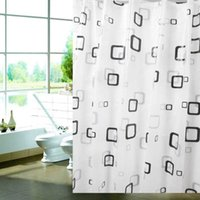 Wholesale Hot x180cm Black White Square Waterproof Shower Curtain Bathroom Curtains Thickened Bath Shower Curtain for Bathroom12 Hooks