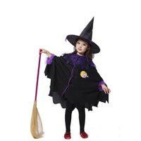 beauty the movie - Halloween Children Cosplay Costume Black Flying Female Wizard Dress Witch Suit The Elves Whimsy Wizard Cloth Witches Broom Kit