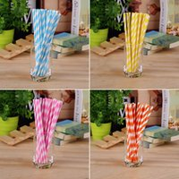 Wholesale 25pcs Retro Paper Stripe Drinking Straws For Party Birthday Wedding Supply