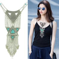 Wholesale Silver Multi Gem Necklace - Bohemian Ethnic Blue Gem Retro Silver Carved Triangle Punk Rivet Long Tassel Choker Necklace Multi Chain Jewelry For Gift