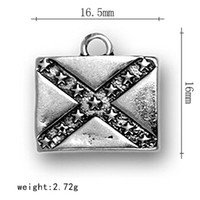 Charms antique civil war - Hot selling Rebel confederate Flag banner flags Civil war Dixie national flag antique silver plated Round Pendant charms