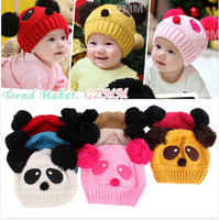 Wholesale Children Baby Kids Hat Cartoon Winter Hat Panda Ball Knitted Crochet Beanie Cap piece