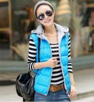 ae color - Autumn Winter Women Vest High Quality Sleeveless Cotton Hooded Waistcoats New Candy Color Zipper Vests AE LN