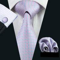 Revisiones Lazo formal de color rosa-Rosa negocio del lazo azul Conjunto de bolsillo ajustan las mancuernas Jacquard Tejido formal Reunión de Trabajo del lazo Ocio N-0523