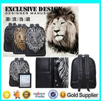 Wholesale 2015 New Arrival Lionhead Travel Backpack Unisex PU Backpack Style Big Capacity Portable Shoulder Bag White Black Golden Color L