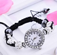 Wholesale Hot new fashion Shamballa Bracelets braided rope adjustable bracelet diamond bracelet watch a735