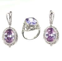 Wholesale Zircon Amethyst Crystal Gemstone Fashion Silver Drop Earrings Ring Jewelry