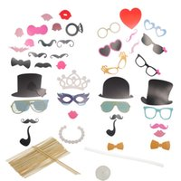 Wholesale 2015 New Year Set Photo Prop Multicolor For Christmas Wedding Creative DIY Cute Caps Moustache Lips Glasses x16 cm