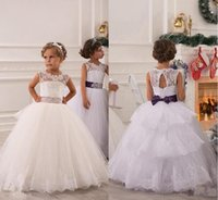 black and white flower girl dresses - 2015 Flower Girl Dresses Real Photos with Keyhole Back and Lace Top and Puffy Princess Skirt