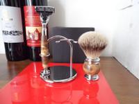 shaving badger silver - Deluxe shaving set silver tip badger hair shaving brush set razor chrome plated amp marble stone grain handle brush stand