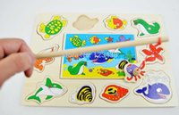 Wholesale Wooden Kids Magnetic Marine Animals Fishing Board Puzzles in Toys