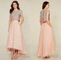 Cheap Two Pieces Bridesmaids Best Sequined Bridesmaid Dress