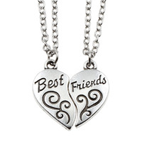 Wholesale Two part quot Best Friends quot Friendship Silver Tone Broken Heart Pendant Long Chain Necklace Jewelry BFF Partner Necklaces Gift