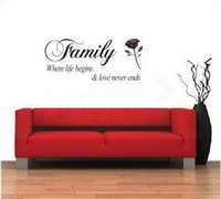 begin shipping - Dropshipping Black Wall Quotes Saying quot Family where life begins quot Wall Decor Sticker Letter Vinyl Art Decals