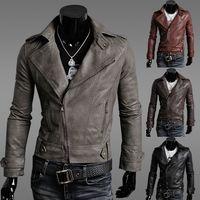 Wholesale Short Brown Leather Jackets - 2016 Autumn New Year Fashion Chrismas Jacket Cool Men Slim Lapel Neck PU Leather Motorcycle Jacket Coat Cool Man Jacket Outwear US 4 Size